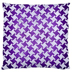 Houndstooth2 White Marble & Purple Brushed Metal Large Cushion Case (two Sides) by trendistuff