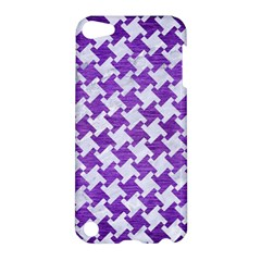 Houndstooth2 White Marble & Purple Brushed Metal Apple Ipod Touch 5 Hardshell Case by trendistuff