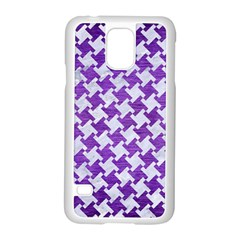 Houndstooth2 White Marble & Purple Brushed Metal Samsung Galaxy S5 Case (white) by trendistuff