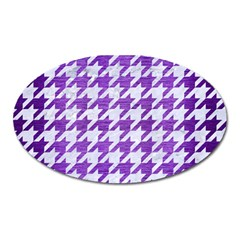 Houndstooth1 White Marble & Purple Brushed Metal Oval Magnet by trendistuff