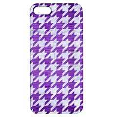 Houndstooth1 White Marble & Purple Brushed Metal Apple Iphone 5 Hardshell Case With Stand by trendistuff
