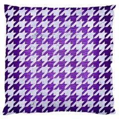 Houndstooth1 White Marble & Purple Brushed Metal Standard Flano Cushion Case (one Side) by trendistuff