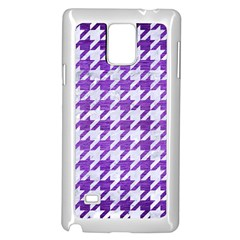 Houndstooth1 White Marble & Purple Brushed Metal Samsung Galaxy Note 4 Case (white) by trendistuff