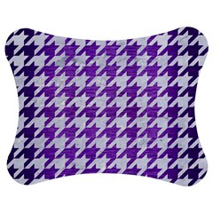 Houndstooth1 White Marble & Purple Brushed Metal Jigsaw Puzzle Photo Stand (bow) by trendistuff