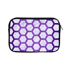 Hexagon2 White Marble & Purple Brushed Metal (r) Apple Ipad Mini Zipper Cases by trendistuff