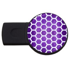 Hexagon2 White Marble & Purple Brushed Metal Usb Flash Drive Round (2 Gb) by trendistuff