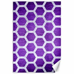 Hexagon2 White Marble & Purple Brushed Metal Canvas 24  X 36  by trendistuff