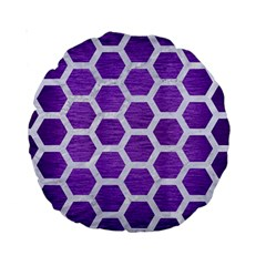 Hexagon2 White Marble & Purple Brushed Metal Standard 15  Premium Round Cushions by trendistuff