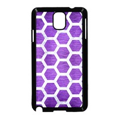 Hexagon2 White Marble & Purple Brushed Metal Samsung Galaxy Note 3 Neo Hardshell Case (black) by trendistuff