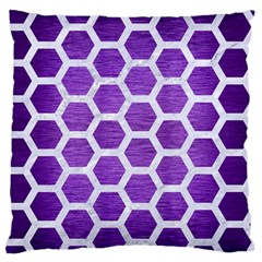 Hexagon2 White Marble & Purple Brushed Metal Large Flano Cushion Case (one Side) by trendistuff