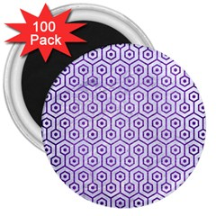 Hexagon1 White Marble & Purple Brushed Metal (r) 3  Magnets (100 Pack) by trendistuff