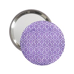 Hexagon1 White Marble & Purple Brushed Metal (r) 2 25  Handbag Mirrors by trendistuff