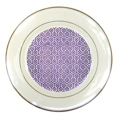 Hexagon1 White Marble & Purple Brushed Metal (r) Porcelain Plates by trendistuff