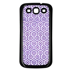 Hexagon1 White Marble & Purple Brushed Metal (r) Samsung Galaxy S3 Back Case (black) by trendistuff