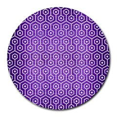 Hexagon1 White Marble & Purple Brushed Metal Round Mousepads by trendistuff