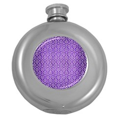 Hexagon1 White Marble & Purple Brushed Metal Round Hip Flask (5 Oz) by trendistuff