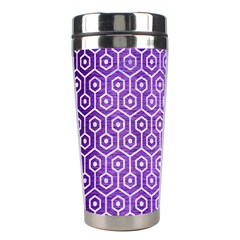 Hexagon1 White Marble & Purple Brushed Metal Stainless Steel Travel Tumblers by trendistuff