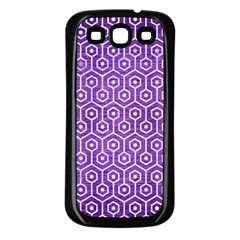 Hexagon1 White Marble & Purple Brushed Metal Samsung Galaxy S3 Back Case (black) by trendistuff