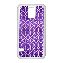 Hexagon1 White Marble & Purple Brushed Metal Samsung Galaxy S5 Case (white) by trendistuff