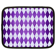 Diamond1 White Marble & Purple Brushed Metal Netbook Case (xl)  by trendistuff
