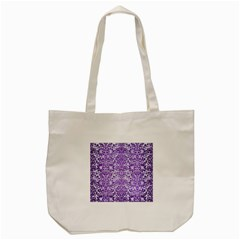 Damask2 White Marble & Purple Brushed Metal (r) Tote Bag (cream) by trendistuff