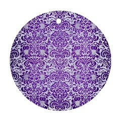 Damask2 White Marble & Purple Brushed Metal (r) Round Ornament (two Sides) by trendistuff