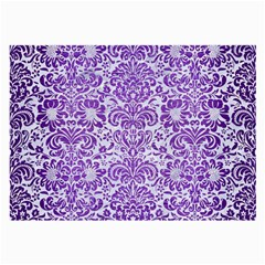 Damask2 White Marble & Purple Brushed Metal (r) Large Glasses Cloth (2 Side) by trendistuff