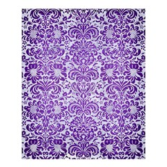 Damask2 White Marble & Purple Brushed Metal (r) Shower Curtain 60  X 72  (medium)  by trendistuff