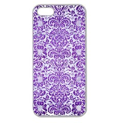 Damask2 White Marble & Purple Brushed Metal (r) Apple Seamless Iphone 5 Case (clear) by trendistuff