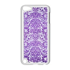 Damask2 White Marble & Purple Brushed Metal (r) Apple Ipod Touch 5 Case (white) by trendistuff