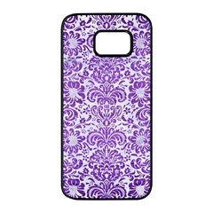 Damask2 White Marble & Purple Brushed Metal (r) Samsung Galaxy S7 Edge Black Seamless Case by trendistuff