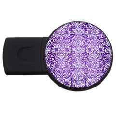 Damask2 White Marble & Purple Brushed Metal Usb Flash Drive Round (2 Gb) by trendistuff