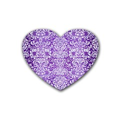 Damask2 White Marble & Purple Brushed Metal Heart Coaster (4 Pack)  by trendistuff