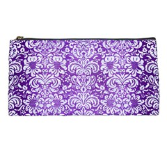 Damask2 White Marble & Purple Brushed Metal Pencil Cases by trendistuff