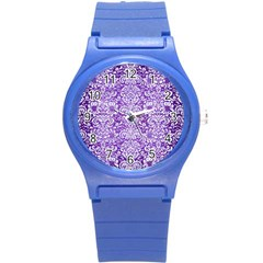 Damask2 White Marble & Purple Brushed Metal Round Plastic Sport Watch (s) by trendistuff