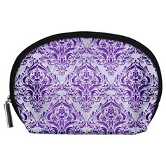 Damask1 White Marble & Purple Brushed Metal (r) Accessory Pouches (large)  by trendistuff