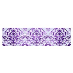 Damask1 White Marble & Purple Brushed Metal (r) Satin Scarf (oblong) by trendistuff