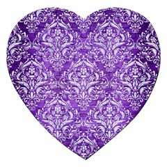 Damask1 White Marble & Purple Brushed Metal Jigsaw Puzzle (heart) by trendistuff