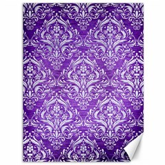 Damask1 White Marble & Purple Brushed Metal Canvas 36  X 48   by trendistuff