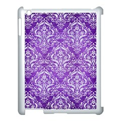 Damask1 White Marble & Purple Brushed Metal Apple Ipad 3/4 Case (white) by trendistuff