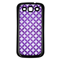 Circles3 White Marble & Purple Brushed Metal (r) Samsung Galaxy S3 Back Case (black) by trendistuff