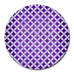 Circles3 White Marble & Purple Brushed Metal Round Mousepads by trendistuff