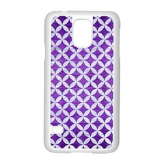 Circles3 White Marble & Purple Brushed Metal Samsung Galaxy S5 Case (white) by trendistuff