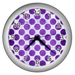 Circles2 White Marble & Purple Brushed Metal (r) Wall Clocks (silver)  by trendistuff