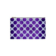 Circles2 White Marble & Purple Brushed Metal (r) Cosmetic Bag (small)  by trendistuff