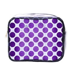 Circles2 White Marble & Purple Brushed Metal (r) Mini Toiletries Bags by trendistuff