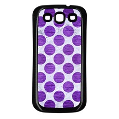 Circles2 White Marble & Purple Brushed Metal (r) Samsung Galaxy S3 Back Case (black) by trendistuff