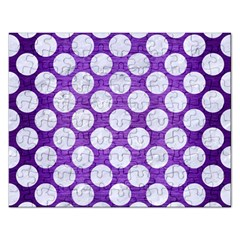 Circles2 White Marble & Purple Brushed Metal Rectangular Jigsaw Puzzl by trendistuff