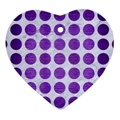 Circles1 White Marble & Purple Brushed Metal (r) Heart Ornament (two Sides) by trendistuff
