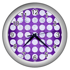 Circles1 White Marble & Purple Brushed Metal Wall Clocks (silver)  by trendistuff